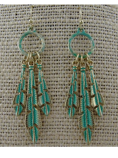 EARRINGS ANTIQUE BRASS FEATHERS