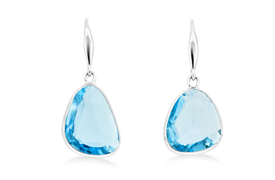 Earrings - blue topaz hook drop earrings in 18 ct white gold