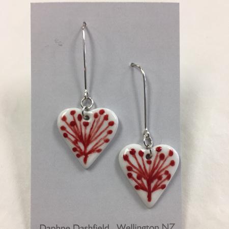 Earrings - Pohutukawa - Heart
