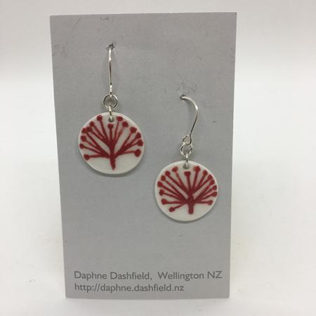 Earrings - Pohutukawa - Round - Red