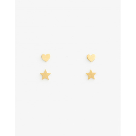 Earrings set of 2 Stars and Hearts Gold