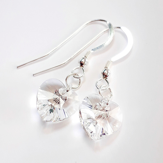 Earrings: sterling silver and swarovski crystal heart - clear
