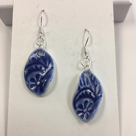 Earrings - Twist - Flower - Blue