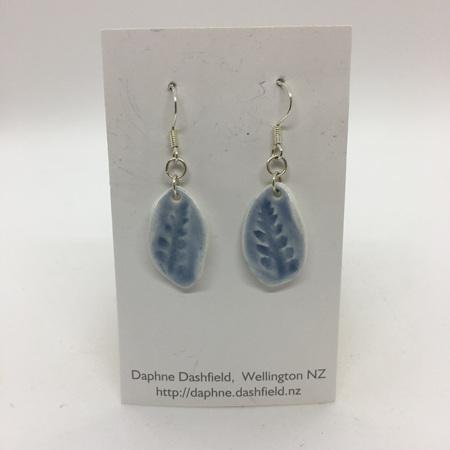Earrings - Twist - Pale Blue with Fern