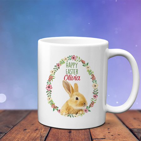 Easter Personalised Floral  Oval Bunny Mug