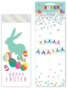 Easter treat bags 15 pack, cellophane with ties