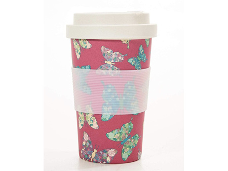 ECO CHIC Bamboo Coffee Cup Fuschia Butterfly