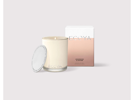 Ecoya Collection.Cedarwood & Leather Candle 400g/14.1oz