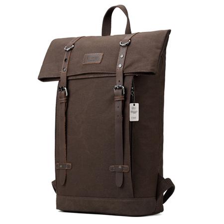 Edison Waxed Canvas Backpack - Dark Brown