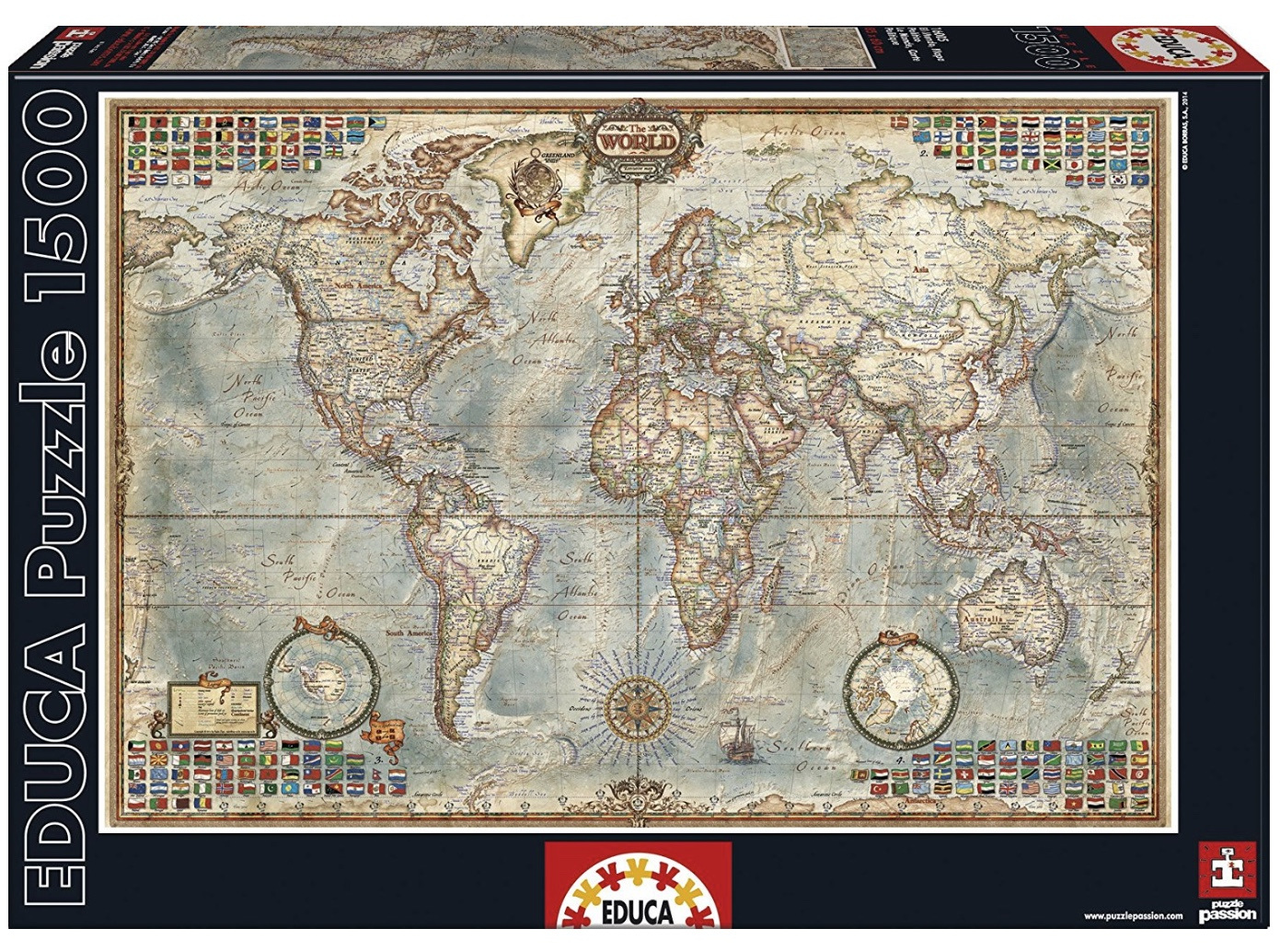 Educa Piece Jigsaw Puzzle Political Map Of The World PuzzlesNZ - World map puzzle