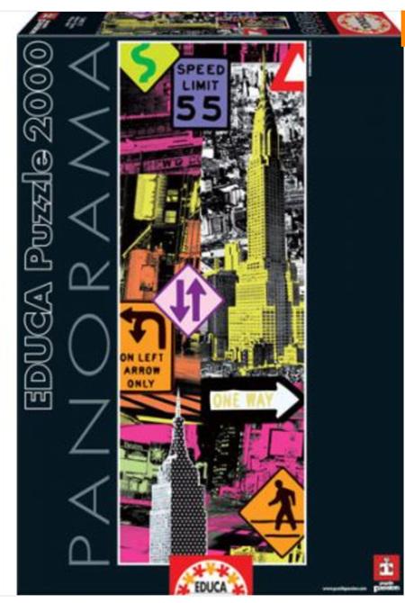 Educa 2000 Piece Panorama Jigsaw Puzzle:  New York Pop Art Collage