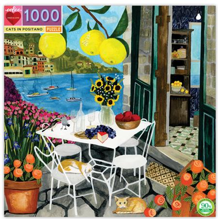 eeBoo 1000 Piece Jigsaw Puzzle: Cats In Positano