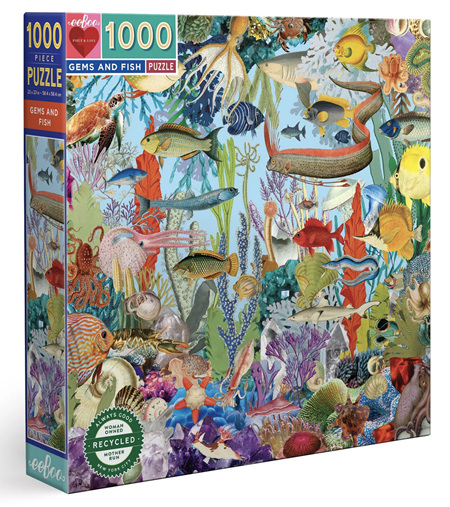 eeboo 1000 Piece Jigsaw Puzzle: Gems & Fish