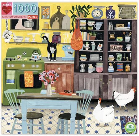 eeBoo 1000 Piece Jigsaw Puzzle: Kitchen Chickens