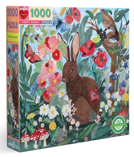 eeBoo 1000 Piece Jigsaw Puzzle: Poppy Bunny