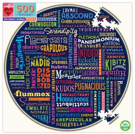 eeBoo 500 Piece Round Jigsaw Puzzle: 100 Great Words