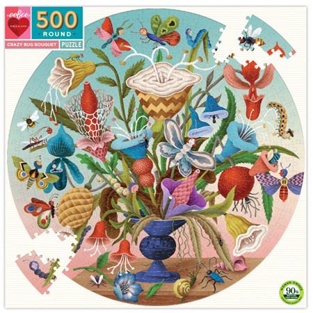 eeBoo 500 Piece Round Jigsaw Puzzle. Crazy Bug Bouquet
