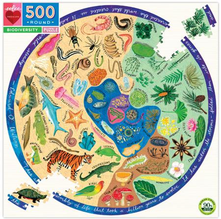 eeBoo 500 Piece Round jigsaw Puzzle: Biodiversity