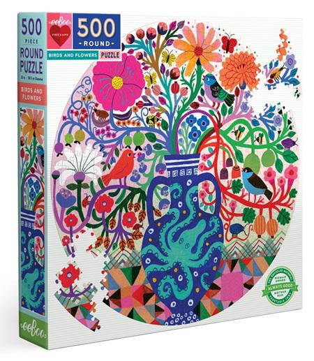 eeBoo 500 Piece Round Jigsaw Puzzle: Birds & Flowers