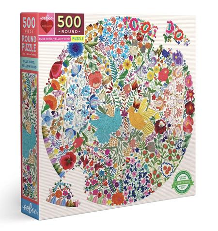 eeBoo 500 Piece Round Jigsaw Puzzle: Blue Bird Yellow Bird