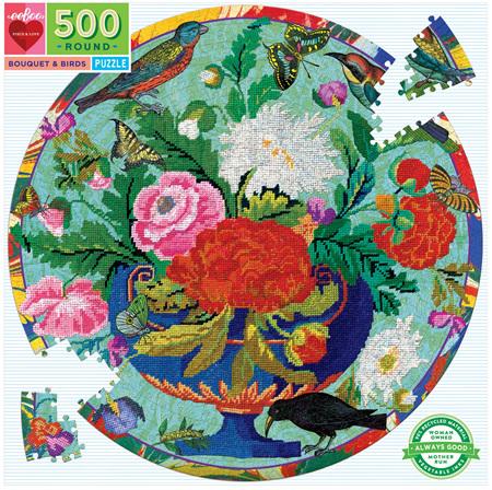 eeBoo 500 Piece Round Jigsaw Puzzle: Bouquet & Birds