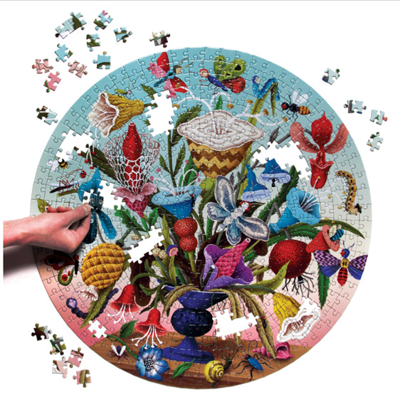 eeBoo 500 Piece Round Jigsaw Puzzle. Crazy Bug Bouquet at www.puzzlesnz.co.nz