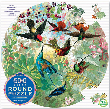 eeBoo 500 Piece Round Jigsaw Puzzle: Hummingbirds