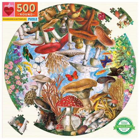 eeBoo 500 Piece Round Jigsaw Puzzle: Mushrooms & Butterflies