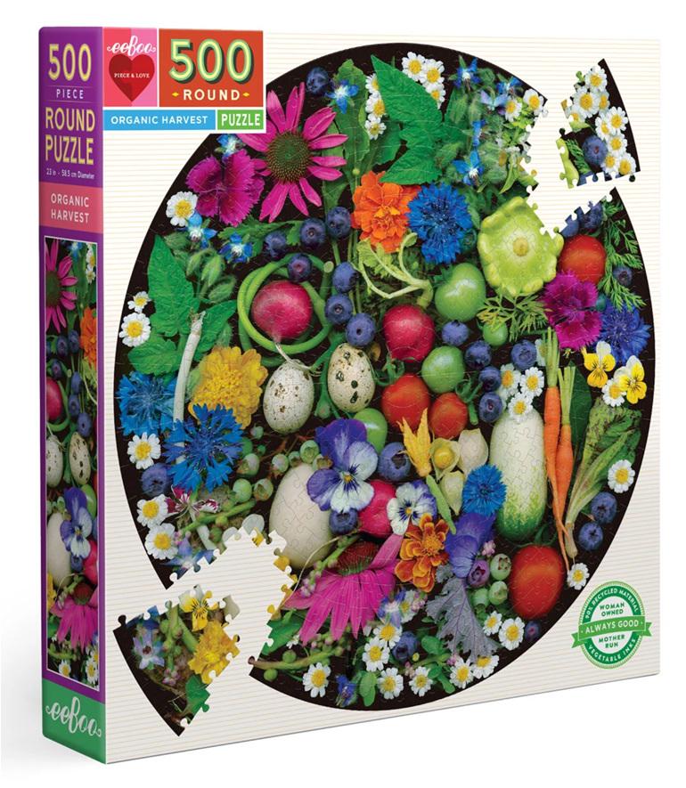 eeboo 500 piece round jigsaw puzzle Organic Harvest buy at www.puzzlesnz.co.nz