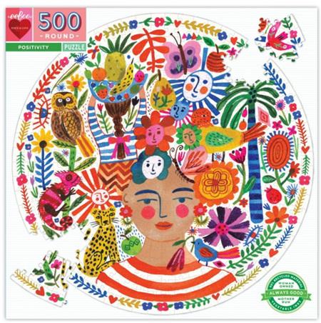 eeBoo 500 Piece Round Jigsaw Puzzle: Positivity