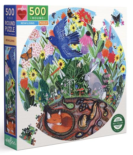 eeboo 500 Piece Round Jigsaw Puzzle: Rewilding