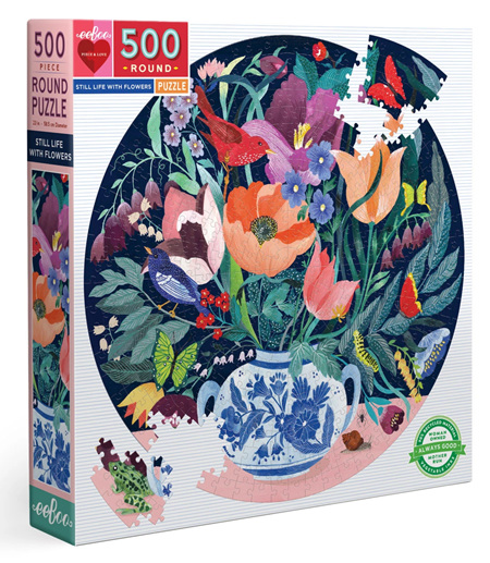 eeBoo 500 Piece Round Jigsaw Puzzle: Still Life With Flowers