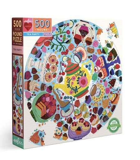 eeBoo 500 Piece Round Jigsaw Puzzle: Tea Party