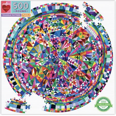 eeBoo 500 Piece Round Jigsaw Puzzle: Triangle Pattern