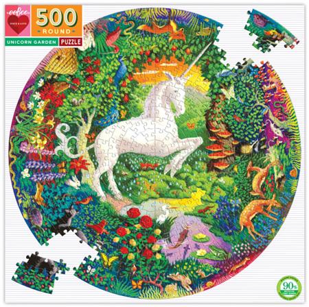 eeBoo 500 Piece Round Jigsaw Puzzle: Unicorn Garden