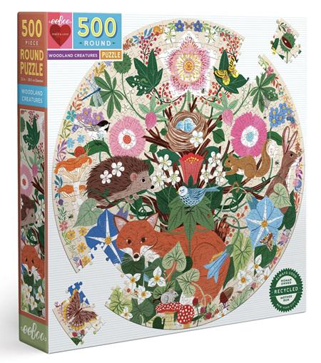 eeboo 500 Piece Round Jigsaw Puzzle: Woodland Creatures