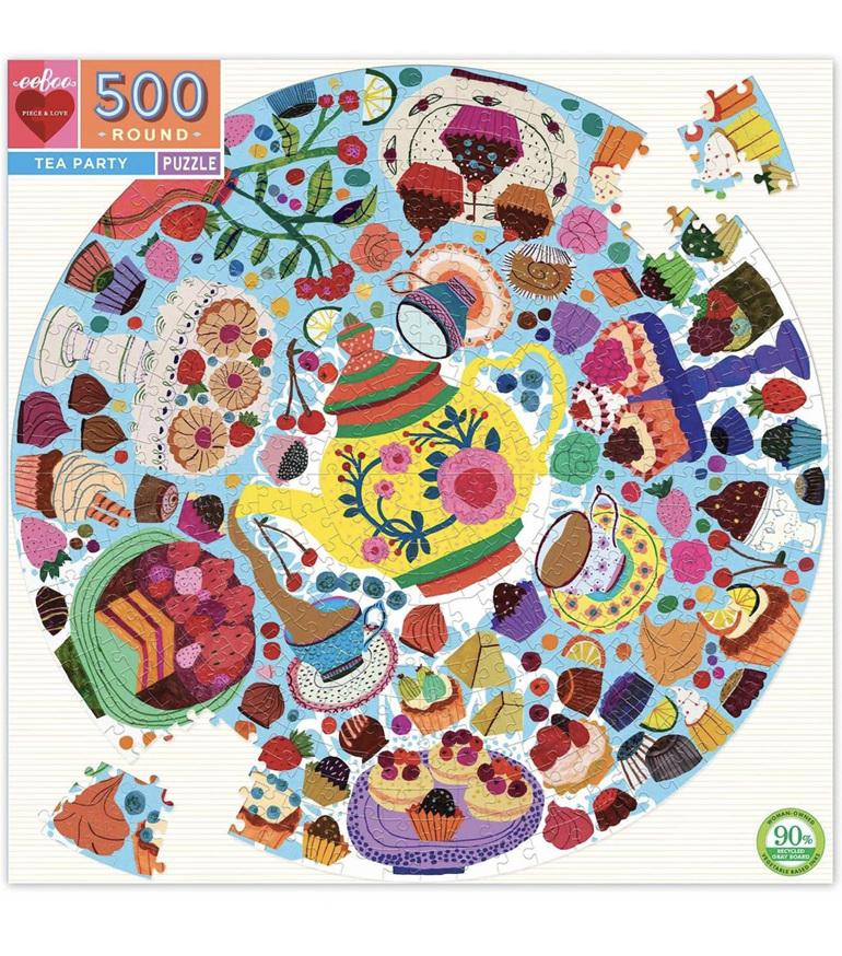 eeBoo 500 Piece  Round Jigsaw  PuzzleTea Party at www.puzzlesnz.co.nz