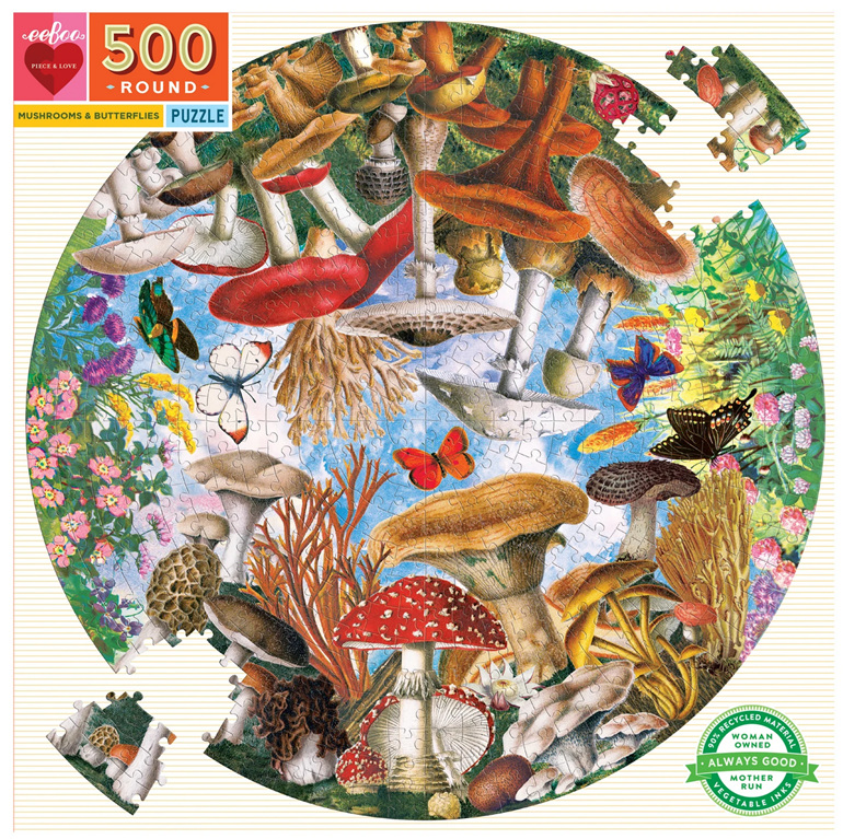 eeBoo 500 Piece  Round  Puzzle Mushrooms & Butterfles at www.puzzlesnz.co.nz