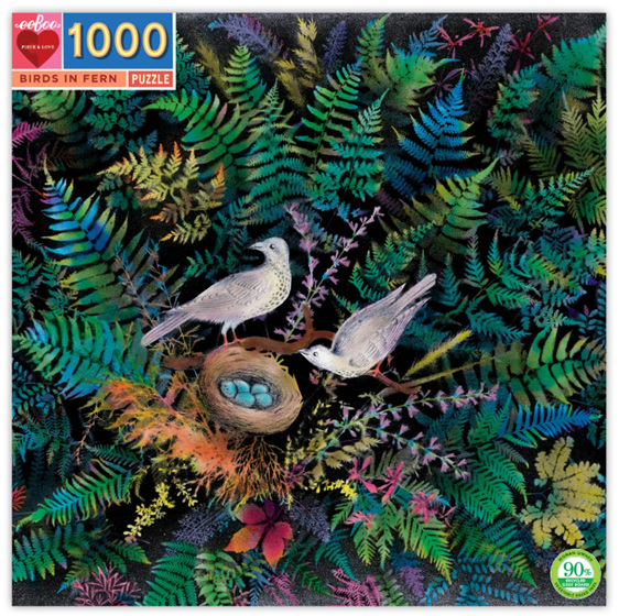 eeBoo Birds & Ferns 1000 Piece Rectangle  Puzzle buy at www.puzzlesnz.co.nz