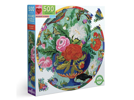 EeBoo Bouquet and Birds Round 500 Piece Puzzle