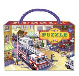 eeBoo Fire Truck 20 Piece Jigsaw Puzzle