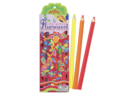 Eeboo Fluorescent Colouring Pencils 6 Pack with Sharpener