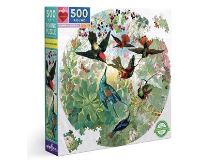 Eeboo Hummingbirds Round 500 Piece Puzzle