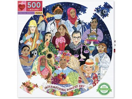 EeBoo International Women's Day 500 Piece Round Puzzle