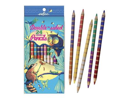 Eeboo - Owl & Raccoon Double Sided Colour Pencils Packet 12