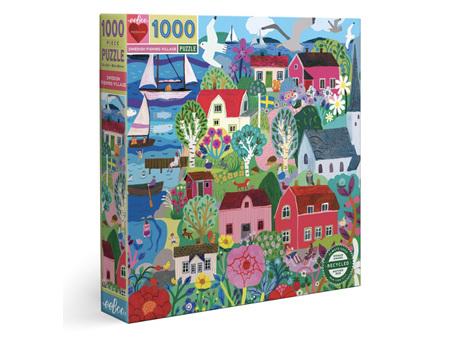 EeBoo Swedish Fishing Village 1000 Piece Puzzle