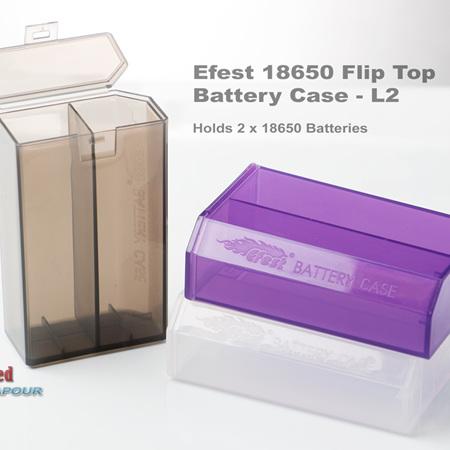 Efest 18650 Battery Case - L2  Flip Top & H2 Side open