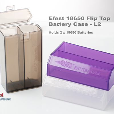 Efest 18650 Battery Case - L2  Flip Top & H2 Side open