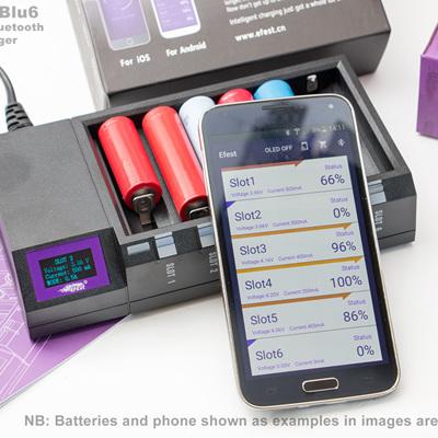 Efest LUC Blu6 - 6 Bay OLED Bluetooth Intelligent Charger