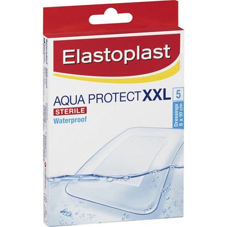 Elastoplast 48628, Aqua Protect XXL Waterproof Dressing 8cm x 10cm, 5 Pack